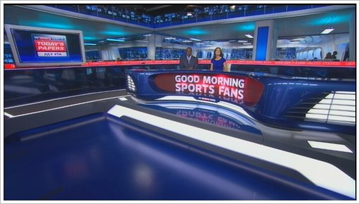 Sky Sports News new studio 2011 with Kirsty Gallacher and Mike Wedde (3)