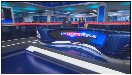 Sky Sports News new studio 2011 with Kirsty Gallacher and Mike Wedde (6)