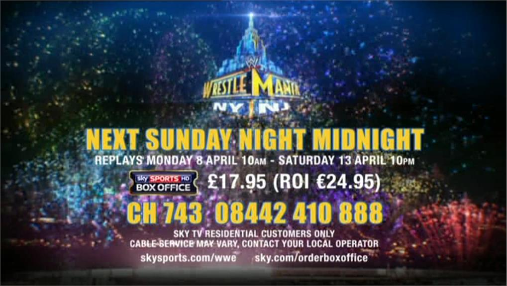 WWE Wrestlemania on Sky Sports Box Officfe