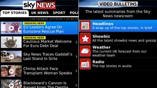 Sky News App for Blackberry
