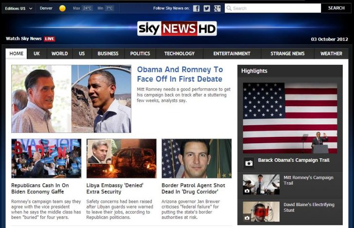 Sky News launches U.S homepage ahead of Presidential Election