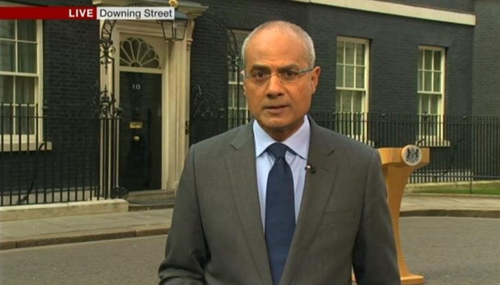 George Alagiah presents the Six O'Clock news from Downing Street