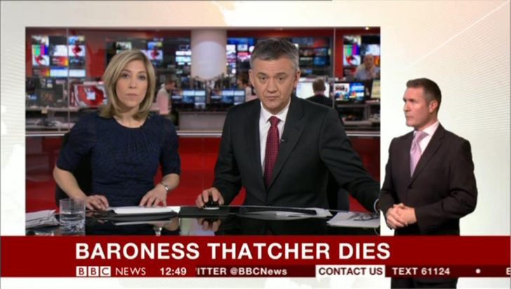 BBC breaks the news of Margaret Thatcher's death