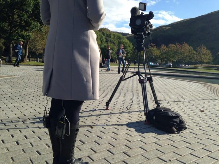 Laura Bicker's boots are made for broadcasting