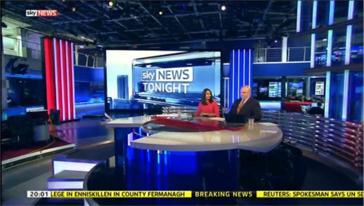 'Sky News Tonight' comes from Osterley tonight due to powercut at Millbank