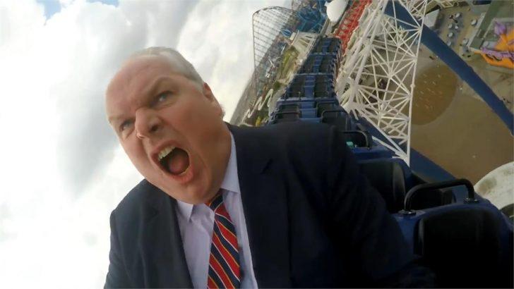 Adam Boulton rides a rollercoaster in latest Sky News Promo on EU Referendum