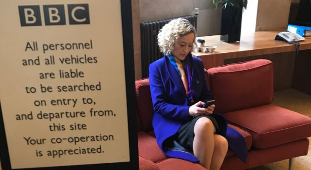 Channel 4's Cathy Newman stages a sit-in at BBC HQ