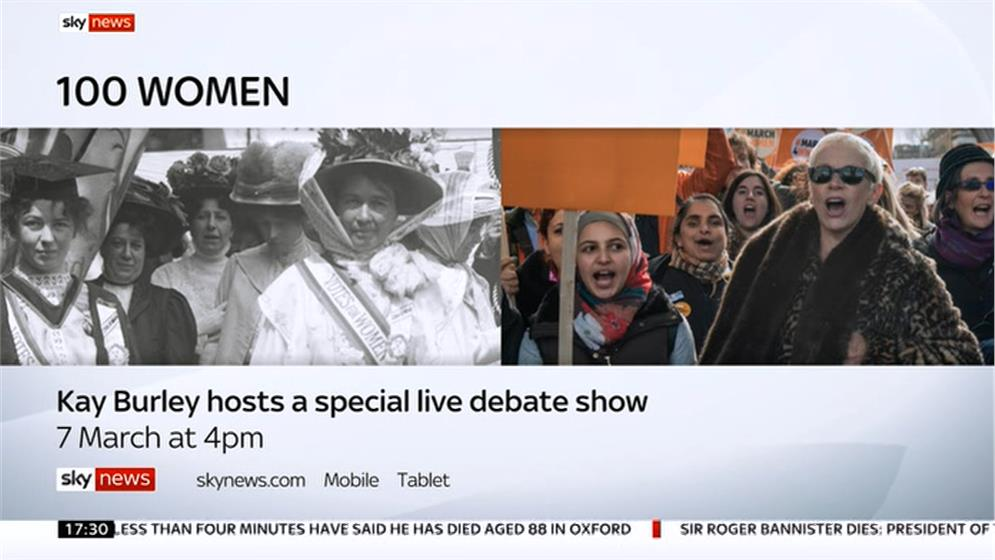 100 Women: Sky News debate on gender equality fronted by Kay Burley